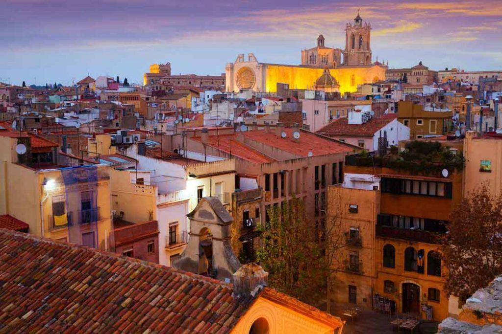 Beautifull aereal view in Tarragona at sunset