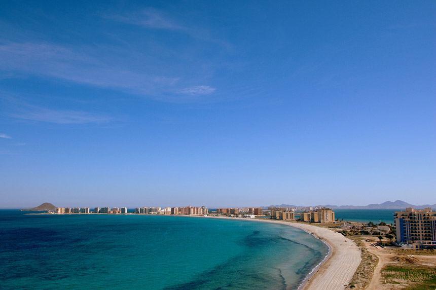 foto aerea panoramica de la Manga del Mar Menor en la Costa Calida