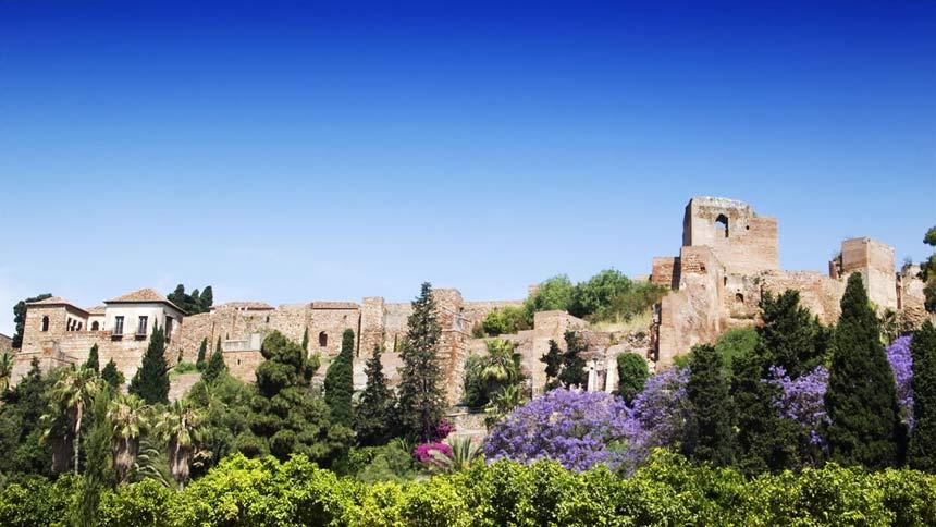 Vista frontal de la Alcazaba de Málaga