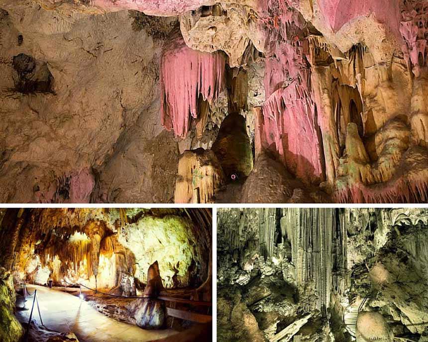 Maravillosas formas de estalactitas y estalacmitas en las cuevas de Nerja