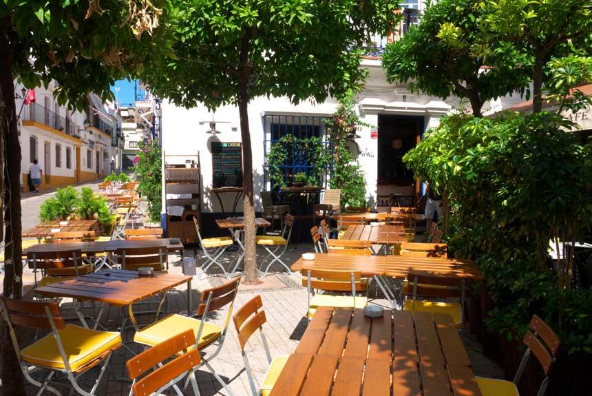 Terraza del casco histórico de Marbella