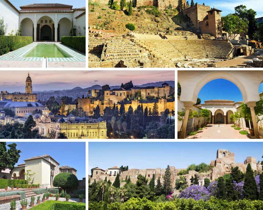 varias fotos de interior y exterior de la Alcazaba de Málaga