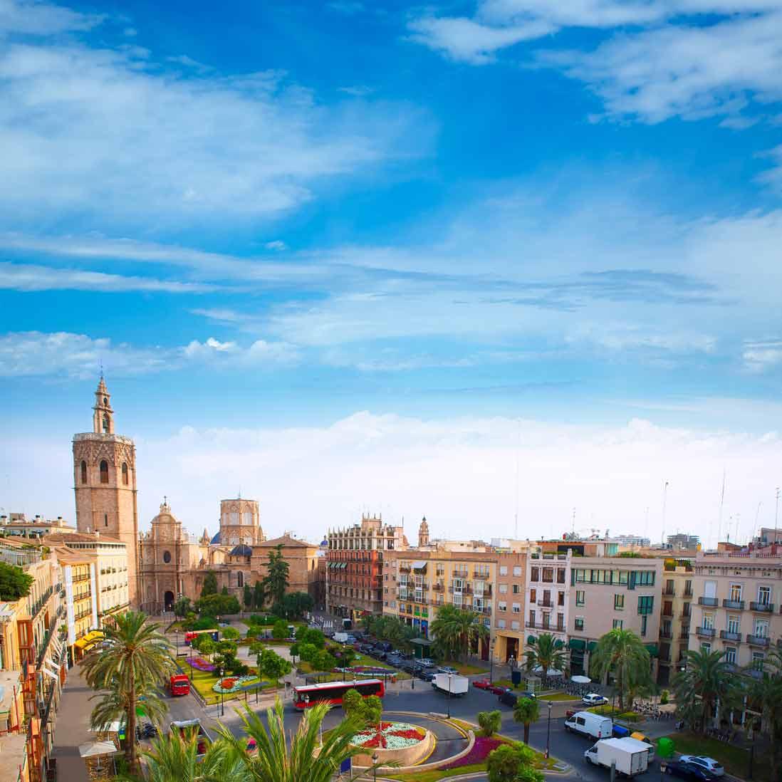 Foto aerea de la catedral de Santa Maria en Valencia