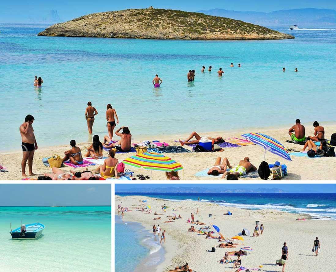 Bañistas en el agua cristalina de Ses Illetes Formentera
