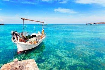 Aguas cristalinas y turquesas de Formentera, Islas Baleares
