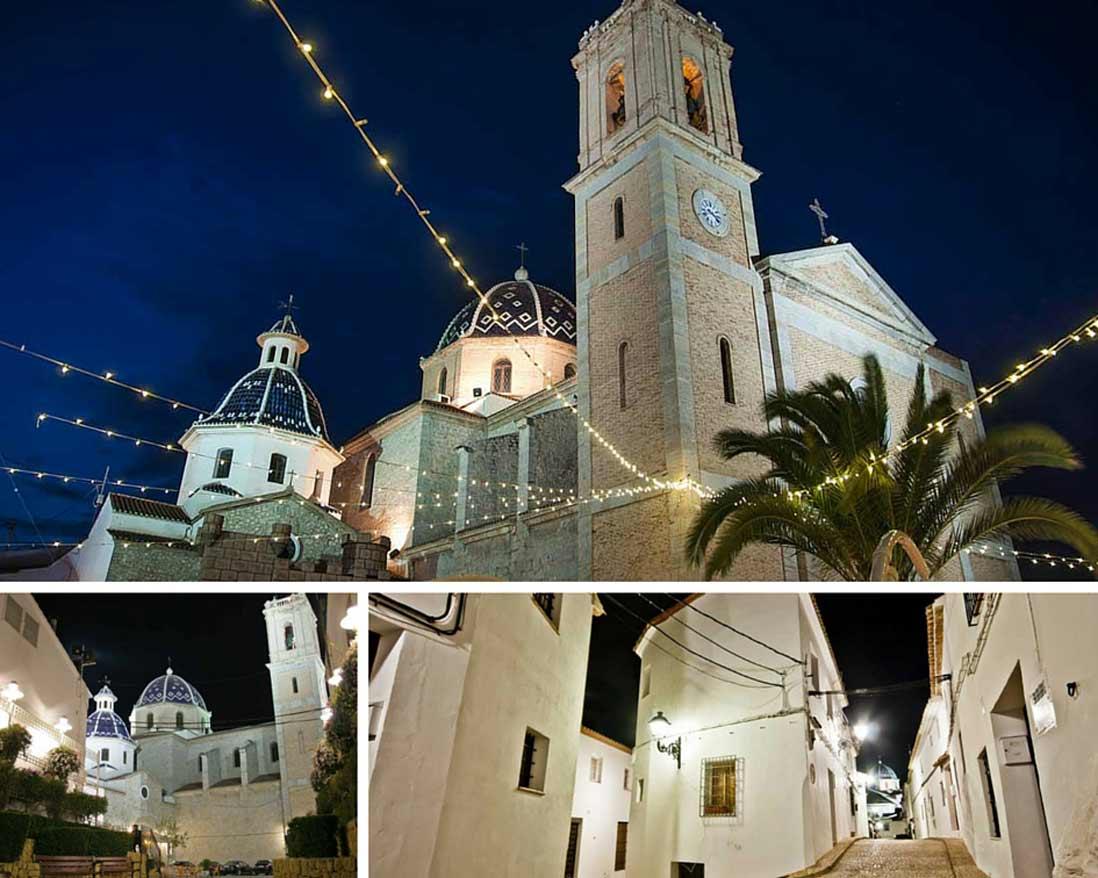 Iglesia de Nuestra Señora del Consuelo por la noche en el casco antiguo de Altea