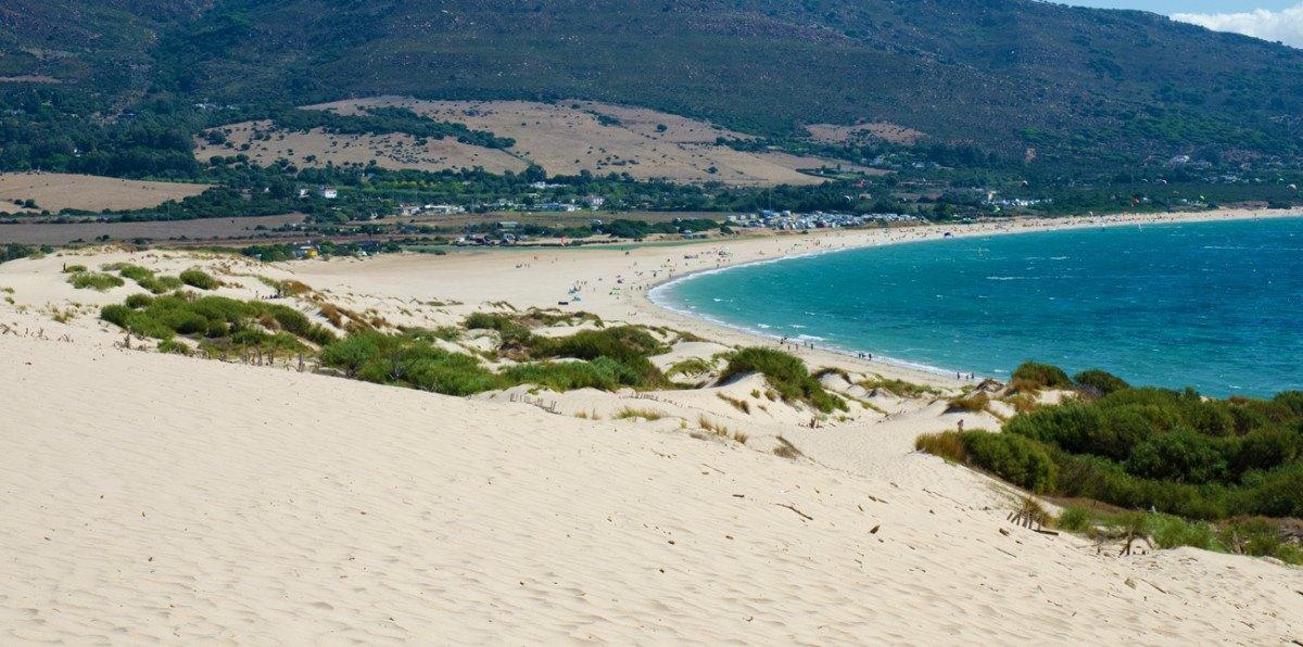 Vista panoramica de la playa Valdevaqueros, Tarifa, Costa de la Luz