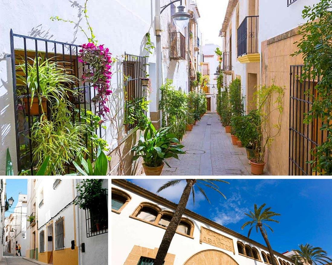 varias fotos del casco antiguo de Jave en Alicante el corazon de la Costa Blanca
