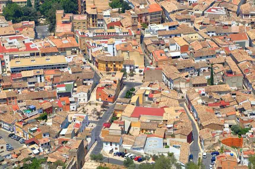 vista aerea del Casco antiguo de Xátiva