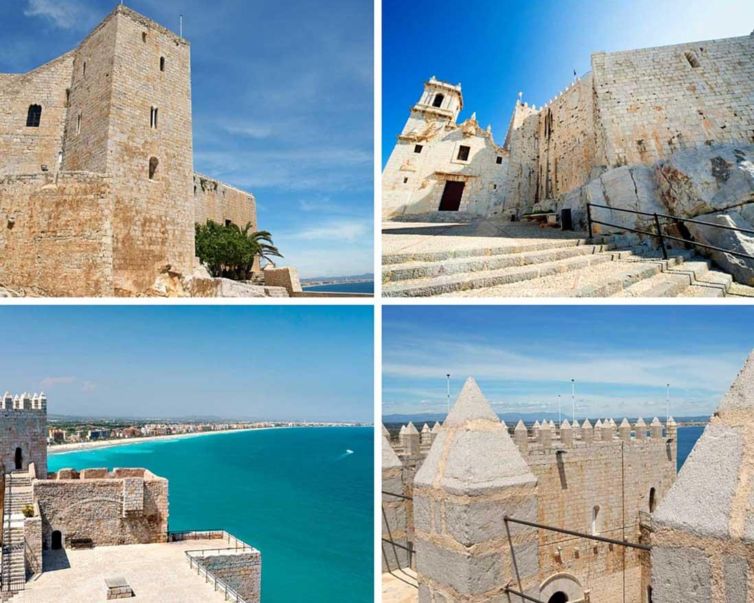 cuatro fotos del castillo papa luna en peñiscola