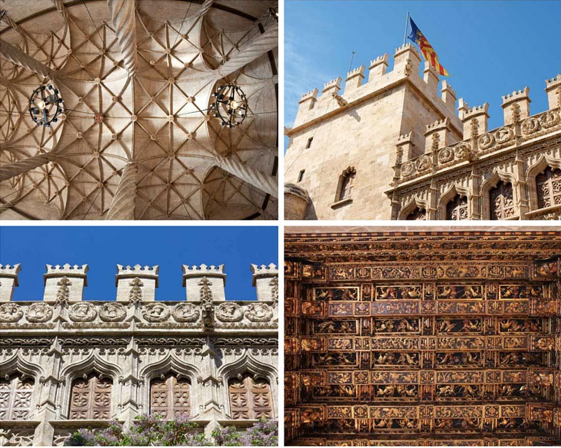 varias fotos del edificio de la lonja de la seda en valencia