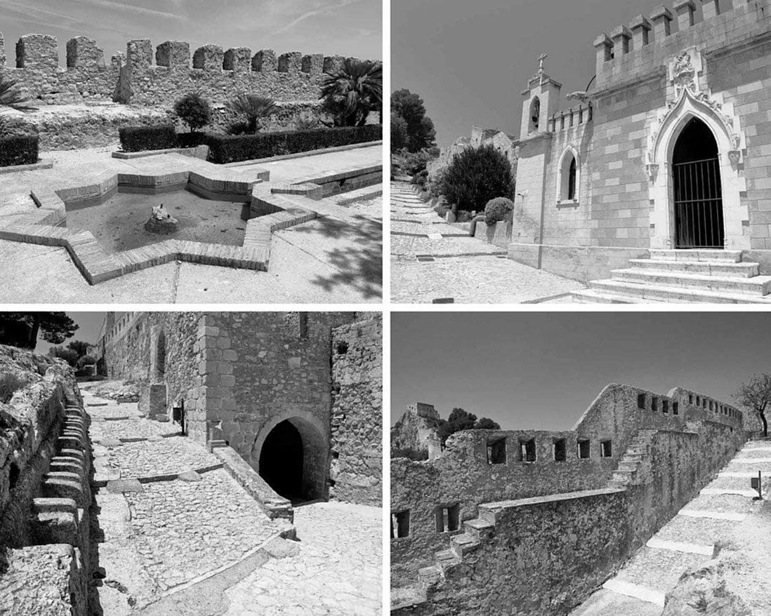collage de fotos del interior del castillo de xativa en valencia