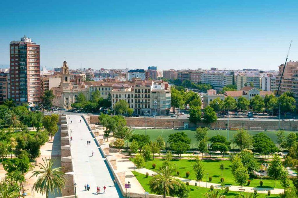 Vista aerea de los Jardines de Turia en Valencia