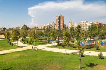 zonas verdes del jardin de turia