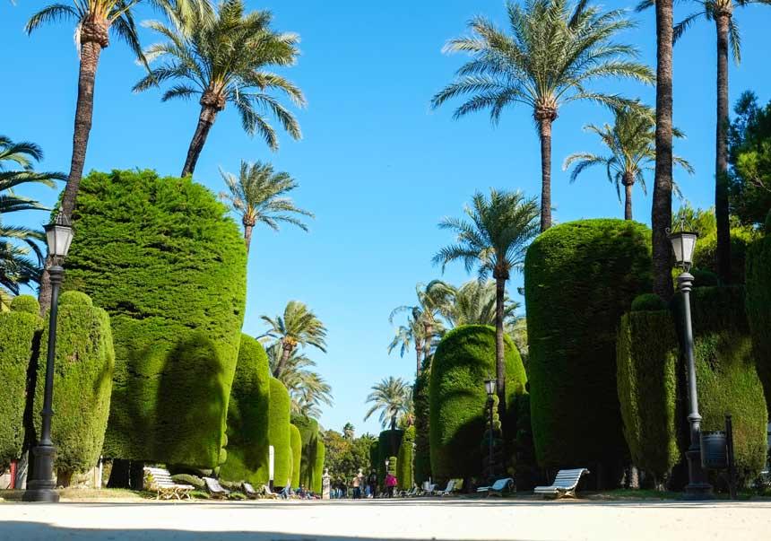 jardines interiores del parque genovés de Cadiz