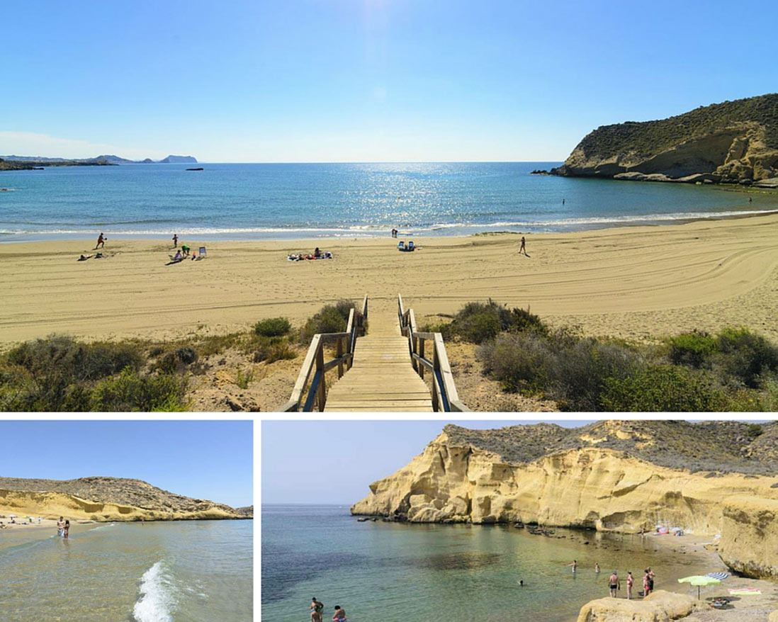 collage de fotos de las playas de Águilas