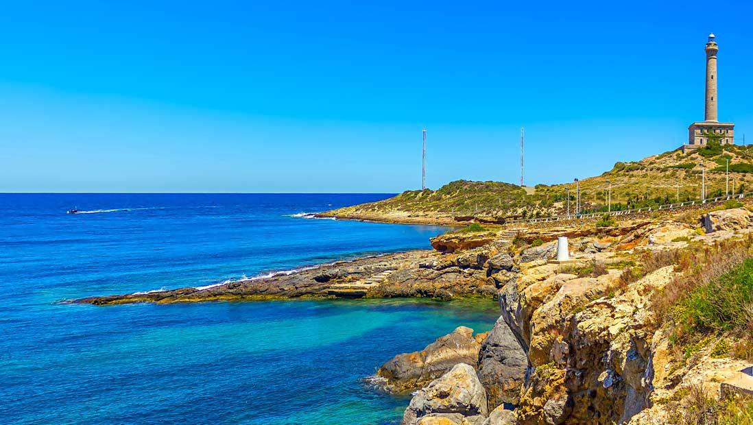 vista panoramica del Faro de Cabo Palos La Manga del Mar Menor