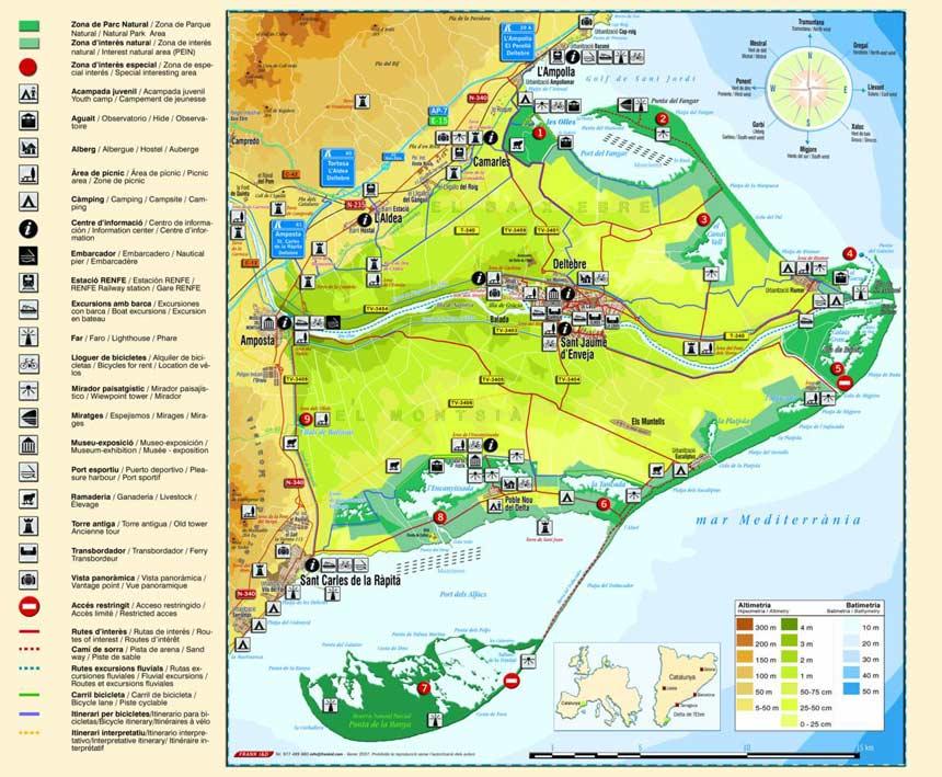 Mapa turistico del Delta del Ebro Mapa delta del ebro