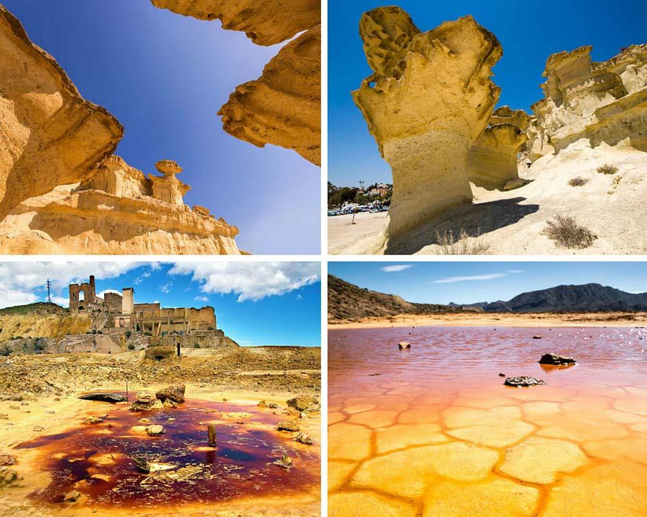collage fotos del espectacular paisaje de las Minas de Mazarron