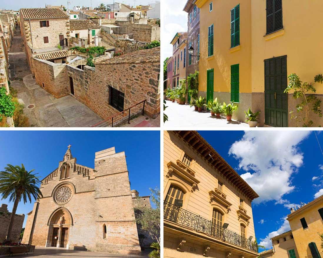 varias fotos del casco antiguo de Alcudia al norte de Mallorca