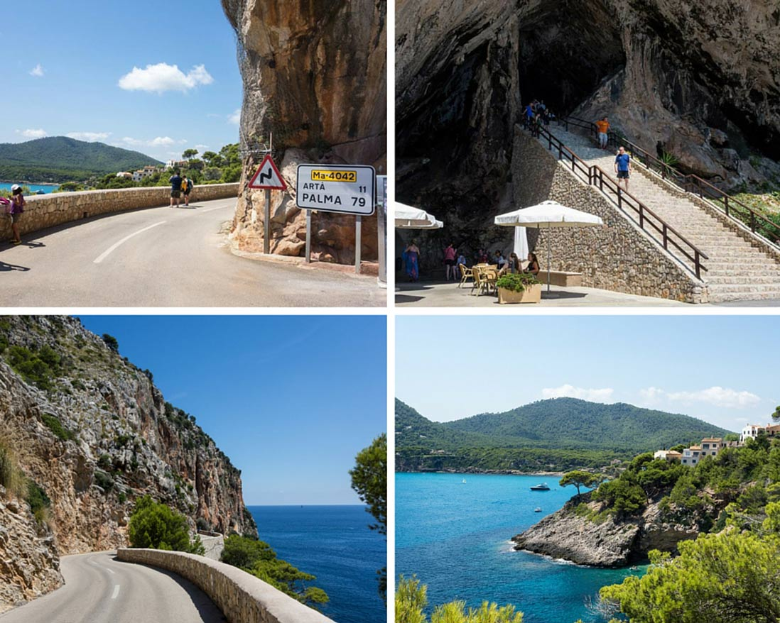 varias fotos de la carretera hacia las cuevas de Arta y el paisaje de Mallorca