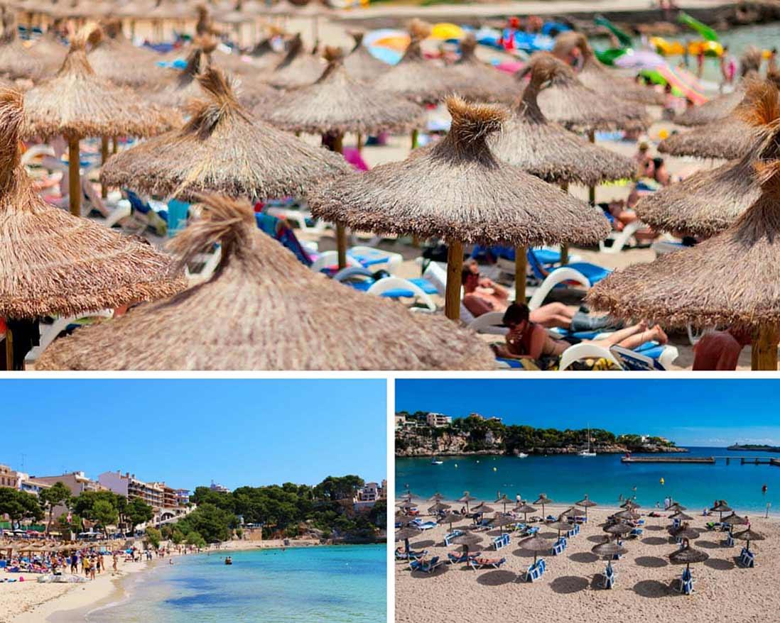 parasoles y bañistas de la playa de Porto Cristo en Manacor islas Baleares