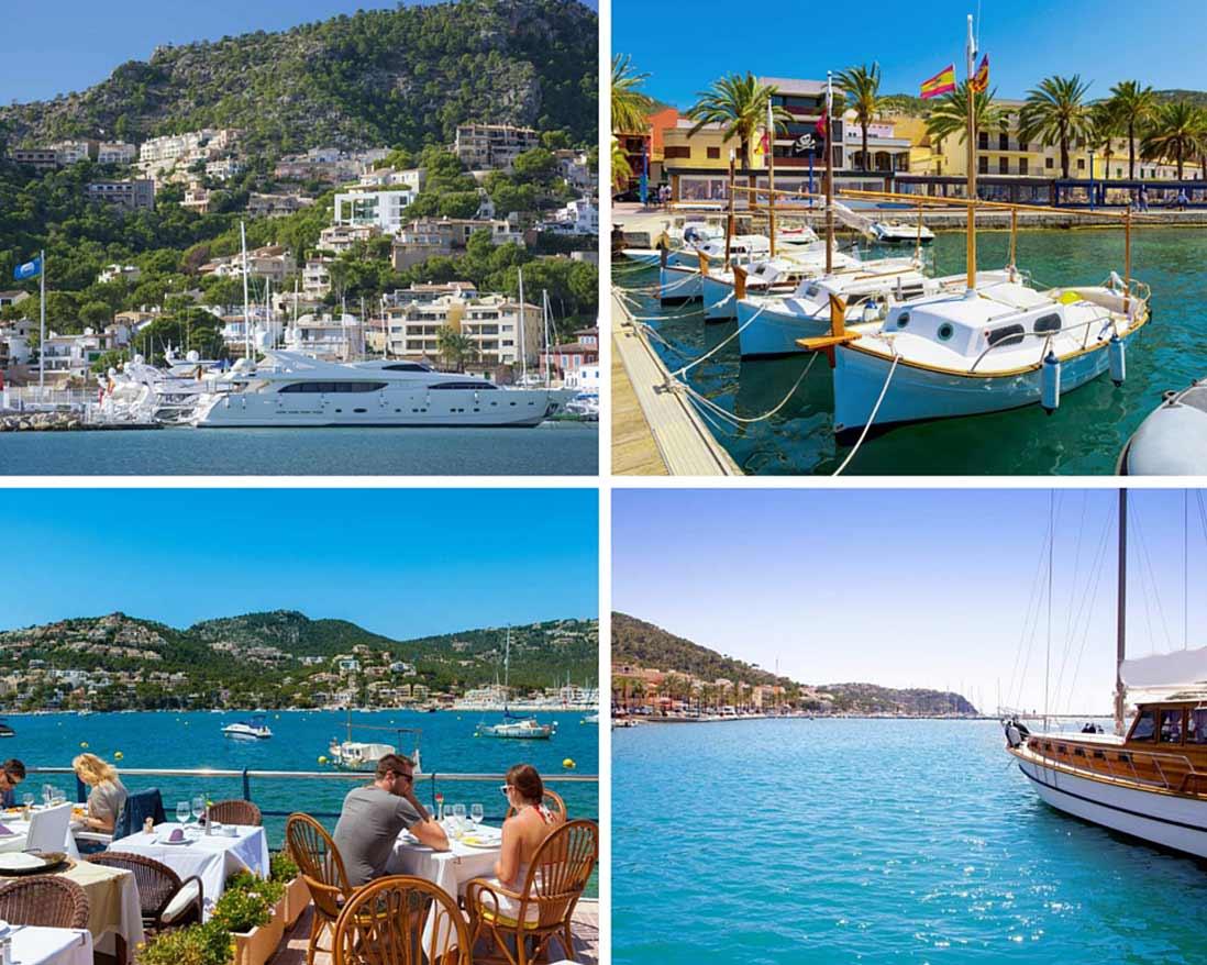 varias fotos del puerto de andrach en Mallorca