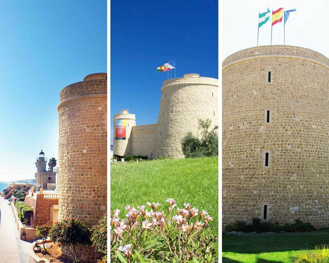 varias fotos del Castillo de Santa Ana en Roquetas de Mar en Almeria