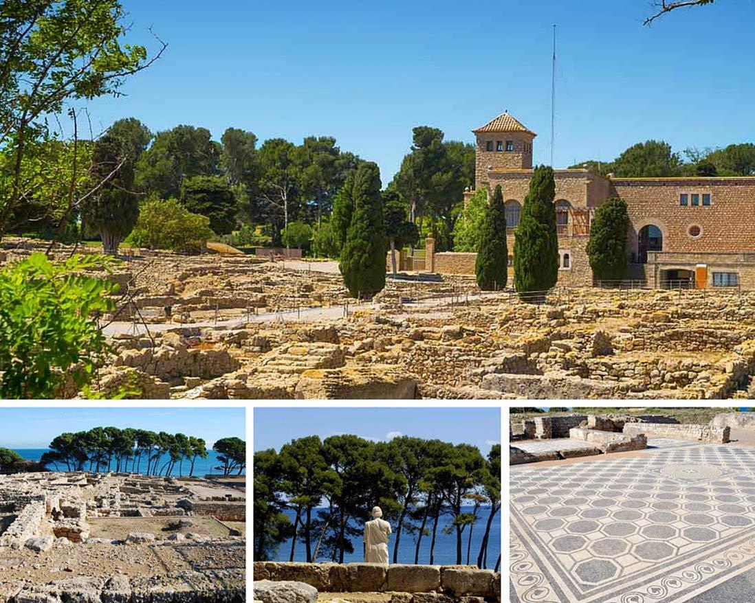 varias fotos del yacimiento arqueologico greco romano de Empuries en la costa brava