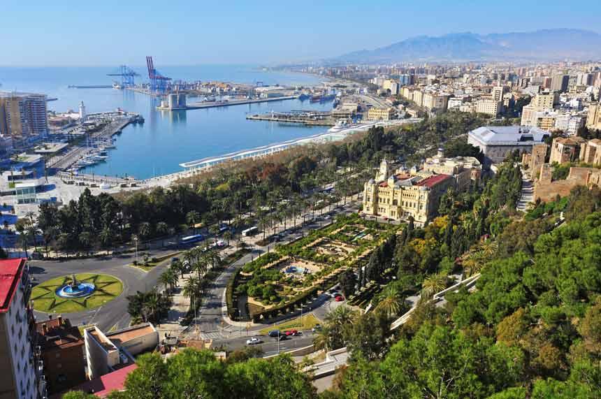 Alameda park and port panoramic view in Malaga city