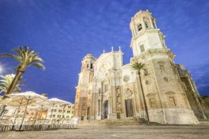 Main Facade Cadiz Cathedral at night