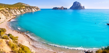Panoramic view Cala d'Hort Ibiza