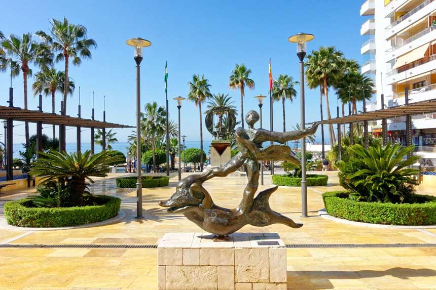 Dali esculpture in Paseo del Mar-Marbella,-Malaga,-Andalucia