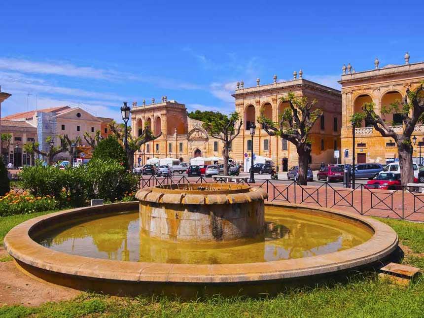 Old and historic buidings in Es-Born-square-in-Ciutadella-Menorca