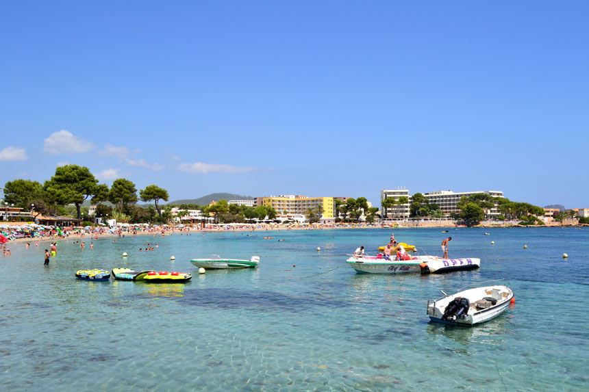 Es Canar beach full of people on summer