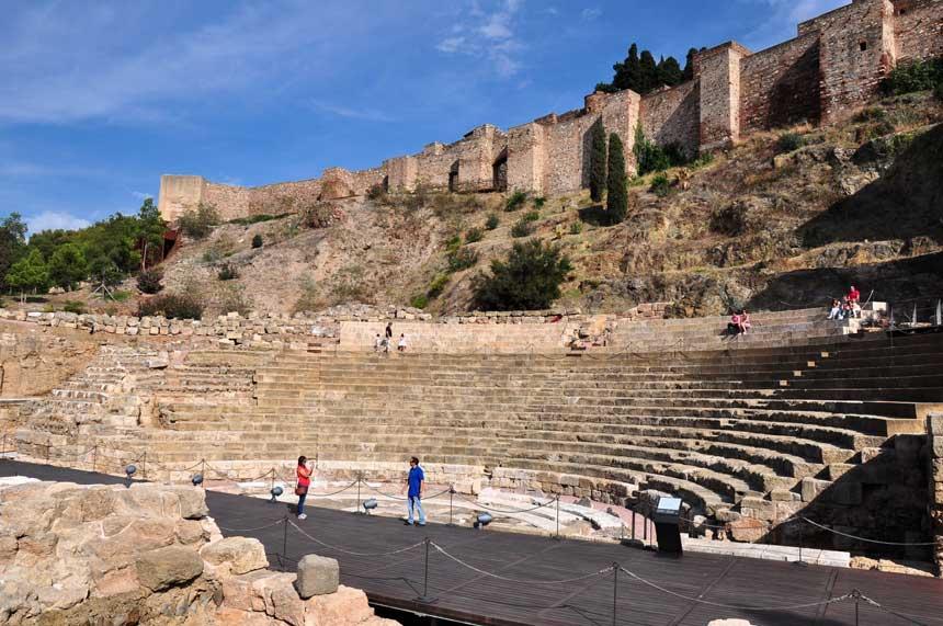 Old walls Gibralfaro Castle and Roman Anphiteatre in Malaga city