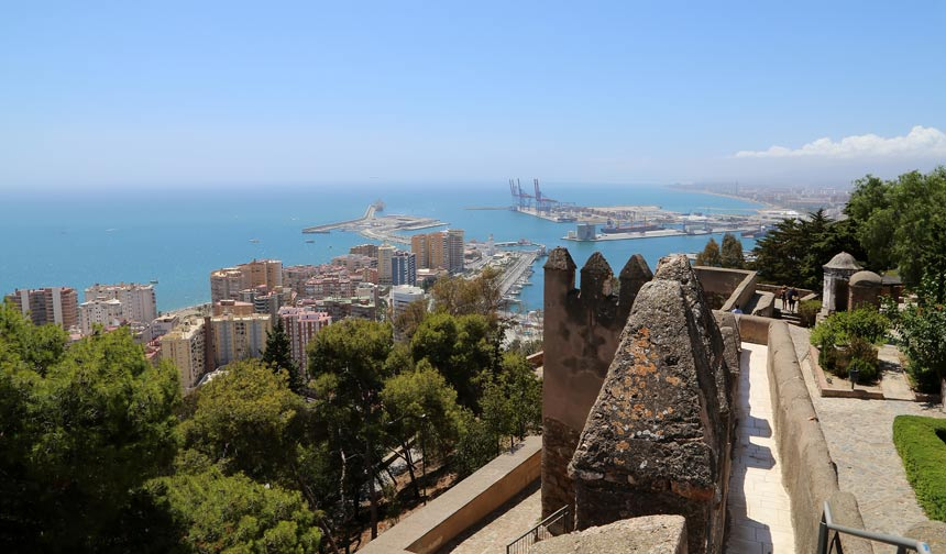 Panoramic view from the top of the Gibralfaro Castle in Malaga city