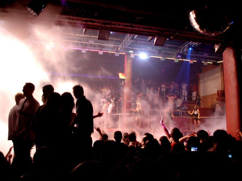 Inside disco Amnesia in Sant Antoni , Ibiza