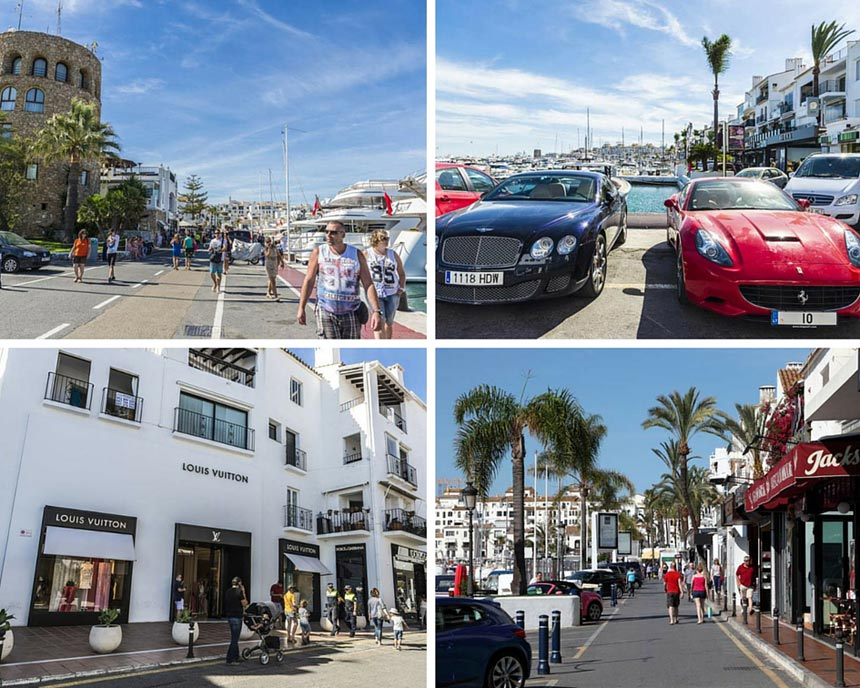 Luxury cars and shopping in Marbella, Puerto Banus