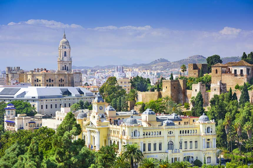 Malaga city panoramic view and Cathedral