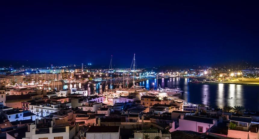 panoramic view at night of the marina Ibiza
