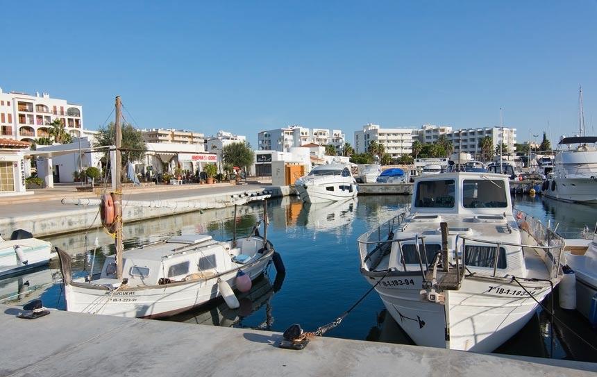 Boats in Marina Santa Eulalia in Ibiza