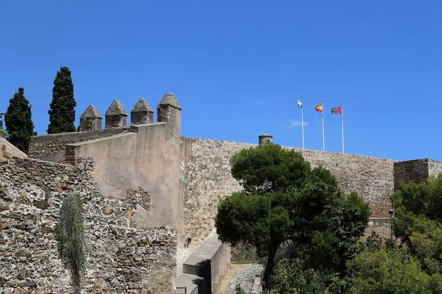 Old walls Gibralfaro Castle in Malaga city