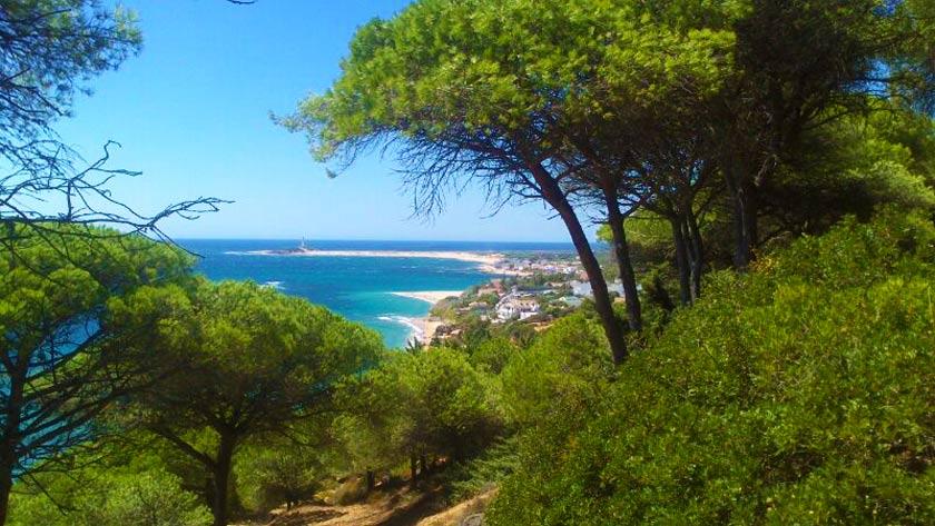 beautifull panoramic view from the Mediterranean sea and Caños de Meca coast
