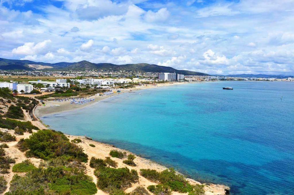 Playa-den-Bossa beach,-Ibiza