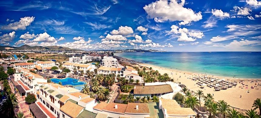 panoramic view playa den Bossa beach in Ibiza