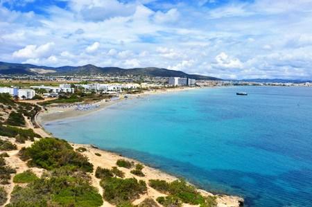 Panoramic view over playa den bossa beach