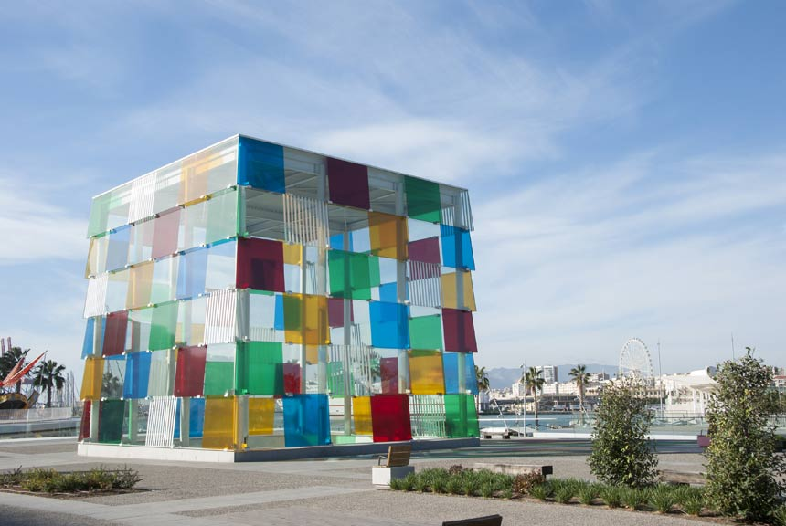 Pompidou centre in Malaga port Quay 1 and the Palm Grove of Surprises