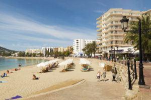 Main promenade and beach in Santa Eulalia