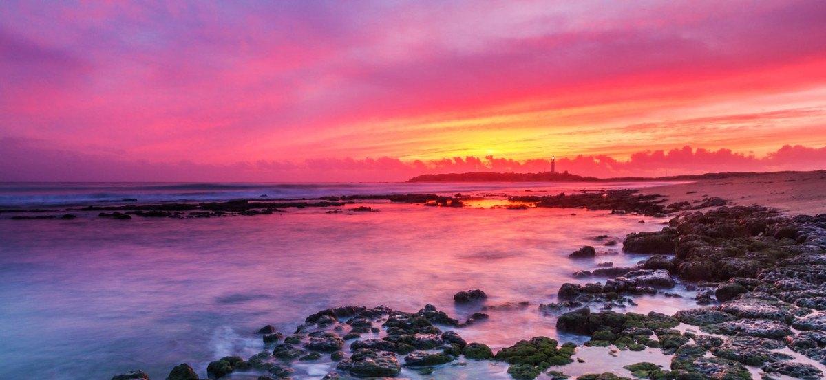puesta de sol en el cabo de Trafalgar , barbate